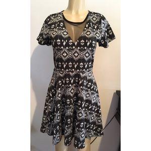 Angie Tribal Print Short Sleeve Knit Dress